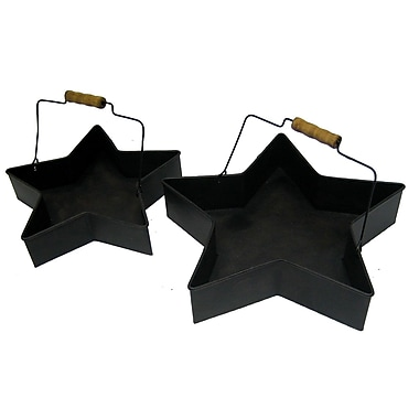 Craft Outlet 2 Piece Tin Star Buckets Set; Antique Black