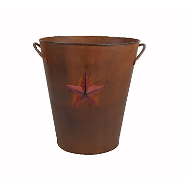 Craft Outlet Country Star Tin Bucket; Antique Rusty and Red