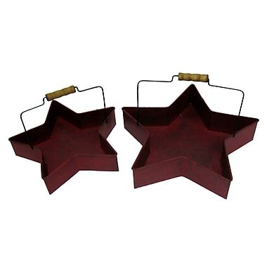 Craft Outlet 2 Piece Tin Star Buckets Set; Antique Barn Red