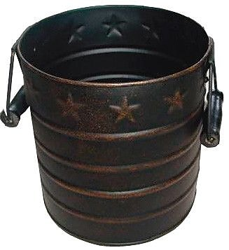 Craft Outlet Star Tin Pail w/ Wooden Handle; Antique Black and Copper
