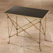 Global Views End Table; Brass, Black Granite Top