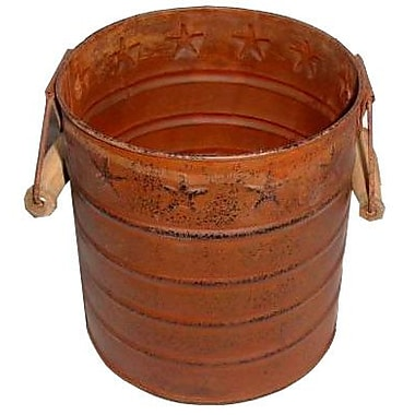 Craft Outlet Star Tin Pail w/ Wooden Handle; Rustic