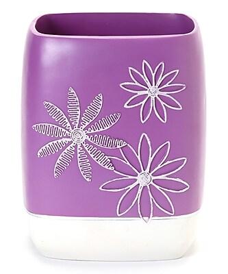 Popular Bath Products Daisy Stitch Waste Basket; Lilac