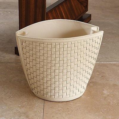 Global Views Leather Waste Basket; Ivory