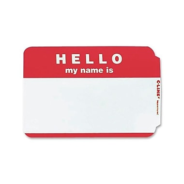C-Line – Badge nominatif autoadhésif « Hello My Name Is », 2,25 x 3,5 (po), rouge, 100/paquet