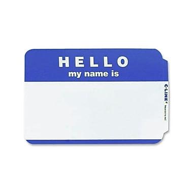 C-Line – Badge nominatif autoadhésif « Hello My Name Is », 2,25 x 3,5 (po), bleu, 100/paquet