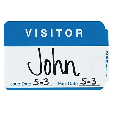 C-Line Full Self-Adhesive Visitor Name Badges, 2.25