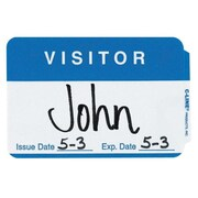 "C-Line Full Self-Adhesive Visitor Name Badges, 2.25"" x 3.5"", Blue, 100/Pack"