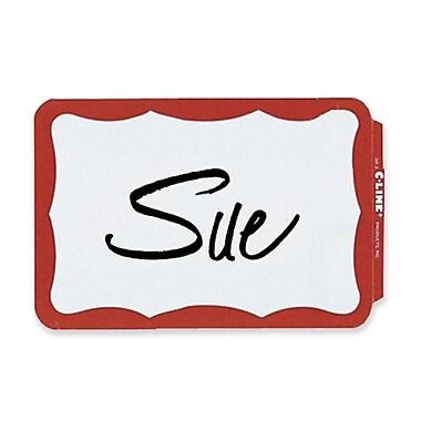 C-Line – Porte-noms entièrement autoadhésifs, 2,25 x 3,5 po, bordure rouge, 100/paquet