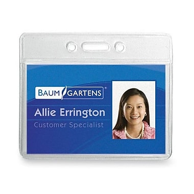 Baumgartens – Porte badge d'identification en vinyle, 3,38 x 2,38 (po), horizontal, 12/paquet