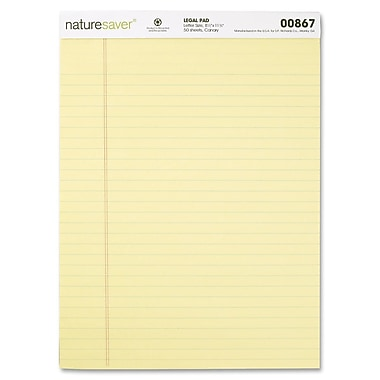 Naturesaver 100% Recycled Ruled Legal Size Pads, 8.5