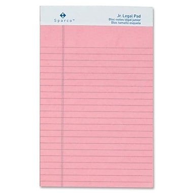 Sparco - Blocs de papier junior en couleurs, réglés, format légal, 5 po x 8 po, rose