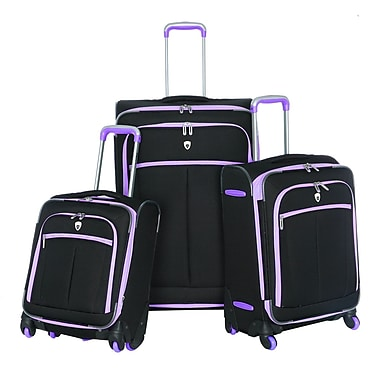 Olympia Polyester O-Tron 3-piece Spinner Luggage Set, Purple