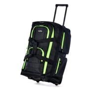 """Olympia Polyester Luggage Sports Plus 8 Pocket Rolling Duffel Bag 22"""", Black/Lime"""