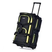 "Olympia Polyester Luggage Sports Plus 8 Pocket Rolling Duffel Bag 22"", Black/Yellow"