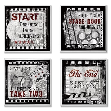 Stupell Industries Cinematic Expressions 4 Piece Square Graphic Art Wall Plaque Set (Set of 4)