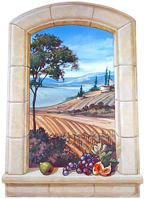 Stupell Industries The Vineyard Faux Window Scene Painting Wall Plaque