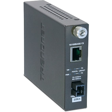 TRENDnet 100Base -TX to 100Base -FX Dual Wavelength Single Mode SC Fiber Converter