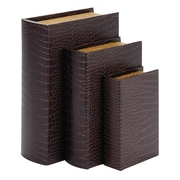 Woodland Imports 3 Piece Leather Book Box Set