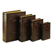 Woodland Imports 4 Piece Leather Book Box Set