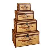 Woodland Imports Fly the World 4 Piece Wooden Trunk Set