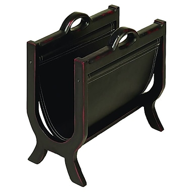 Woodland Imports Wood and Leather Magazine Rack