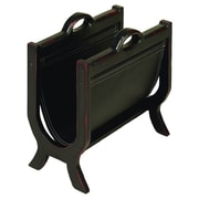 Woodland Imports Wood and Leather Magazine Rack