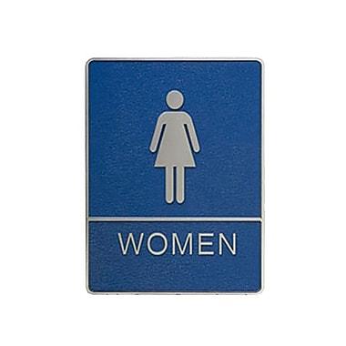 Affiche pour toilette des femmes avec marquage en braille, 6 x 8 po, bleu