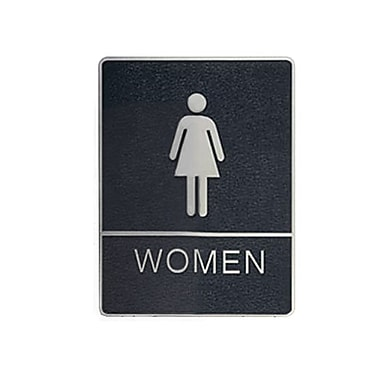 Women Washroom Sign with Braille, 6
