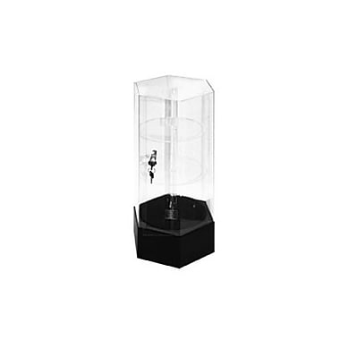 Hexagonal Clear Acrylic Rotating Showcase with Black Base