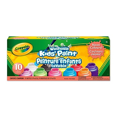 Crayola® Washable Kids' Paint, Neon Colours, 10 per Box, 6/Pack