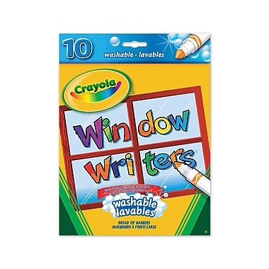 Crayola® Window Writers Washable Markers, Assorted Colours, 10 per Box, 12/Pack