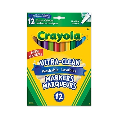 Crayola® Washable Fine Line Markers, Classic Colours, 12 per Box, 12/Pack