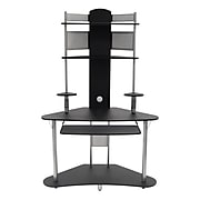 """Calico Designs 47.25"""" x 74"""" Wood Arch Tower, Silver/Black"""