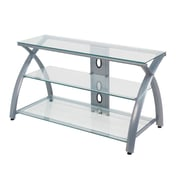 "Calico Designs 42"" Glass, Metal TV Stand, Silver"