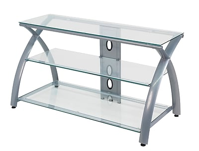Calico Designs 42 Glass Metal Tv Stand Silver Staples