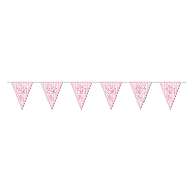 It's A Girl! Pink Pennant Banner, 10