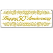 """50th Anniversary Sign Banner, 5', 3"""" x 21"""", 3/Pack"""