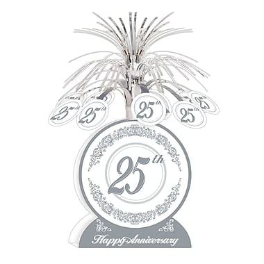 Ornement de table « Happy 25th Anniversary », 13 po, paquet de 3