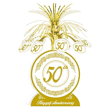 Ornement de table « Happy 50th Anniversary », 13 po, paquet de 3