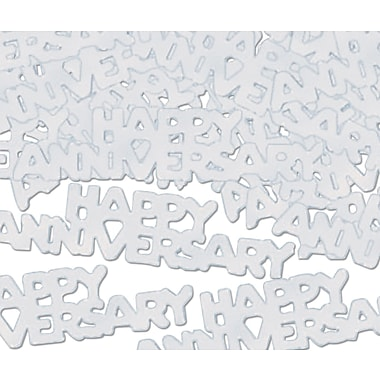 Silver Happy Anniversary Fanci-Fetti, 5/Pack