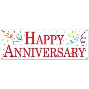 """Happy Anniversary Sign Banner, 5' x 21"""", 3/Pack"""