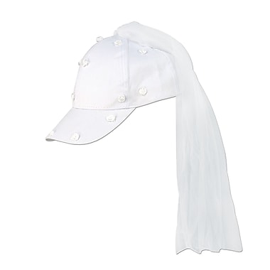 White Cap With Veil, One Size Fits Most, 2/Pack