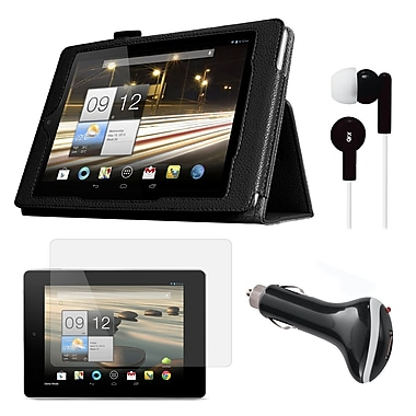 Mgear Accessories Black Folio Case with Screen Protector Earphones,Car Charger for Acer Iconia A