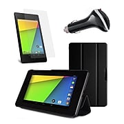 Mgear Accessories Tri-Fold Leather Case with Screen Protector and Car Charger Google Nexus 7