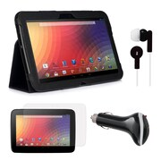 Mgear Accessories Folio Case with Screen Protector, Earphones & Car Charger for Google Nexus 10