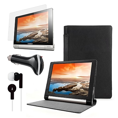 Mgear Accessories Black Folio Case Screen Protector With Earphones & Car Charger For, Lenovo Yoga 8