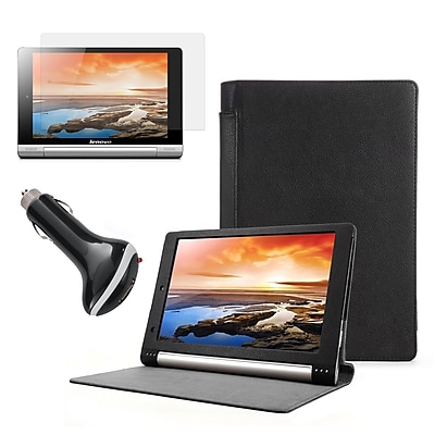 Mgear Accessories Black Folio Case with Screen Protector and Car Charger Lenovo Yoga 10