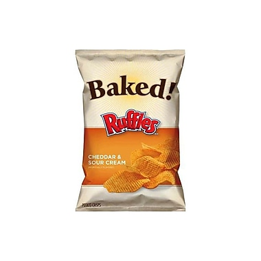 Ruffles Baked Ridged Potato Crisps, Cheddar & Sour Cream 48/Pack 1.125 Oz.