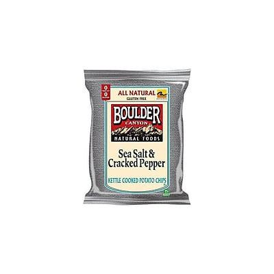 Boulder Canyon Salt and Pepper Kettle Cooked Potato Chips 24/Pack 2 Oz.